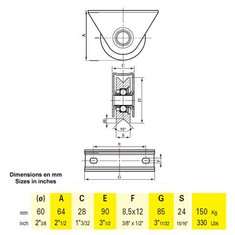 roulette a visser roulette acier visser gorge en v 60mm. Black Bedroom Furniture Sets. Home Design Ideas