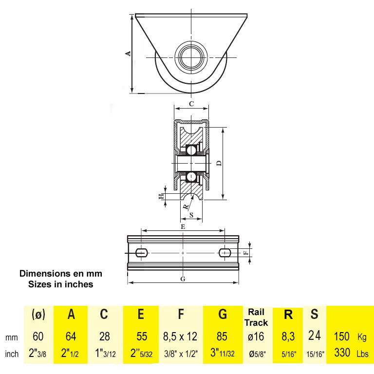 roulette visser gorge en u 80. Black Bedroom Furniture Sets. Home Design Ideas