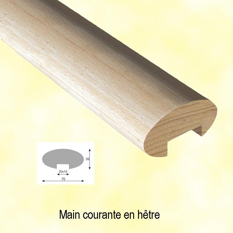 main courante rampe en bois en h tre ovale longueur 2 8m. Black Bedroom Furniture Sets. Home Design Ideas
