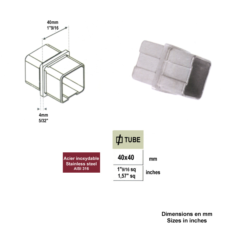 Raccord union pour jonction entre deux tubes inox 40x40mm - Jonction entre deux carrelages ...