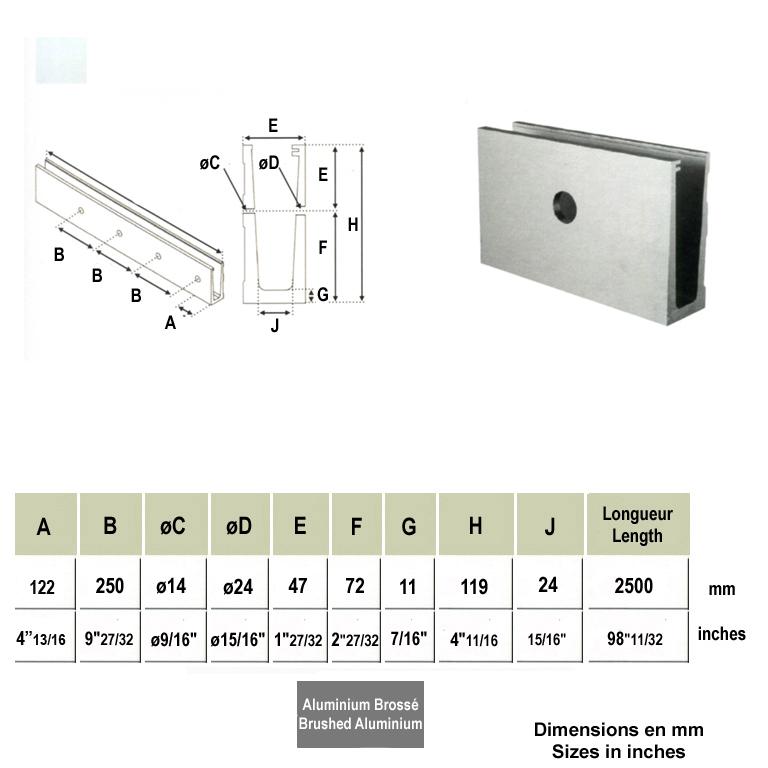 Profil aluminium rail pour plaque de verre fixation l for Fixation garde corps a l anglaise