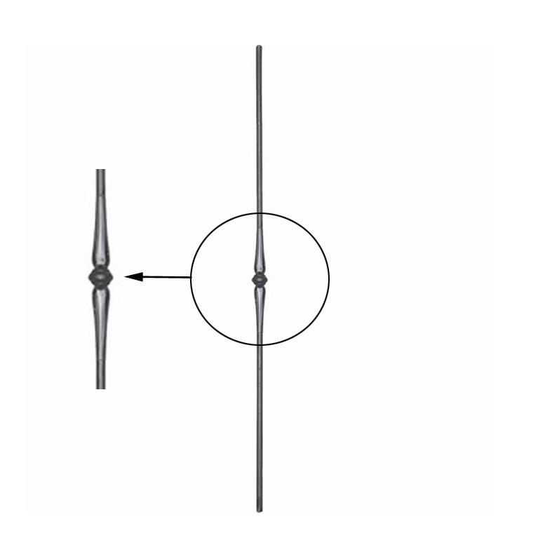 Balustre acier forg balustre forg h1000mm 14mm for Fer forge au detail
