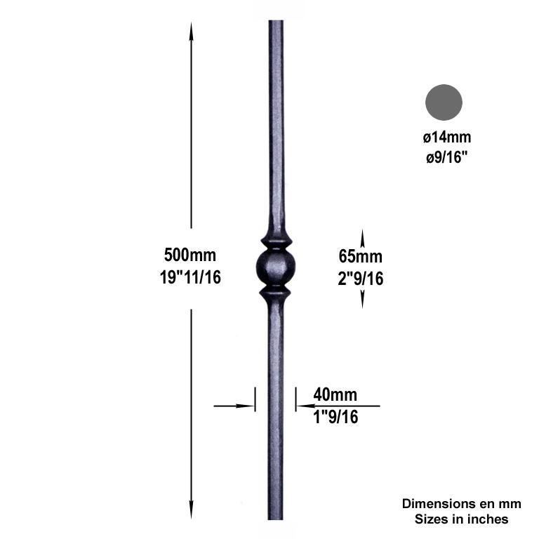 Balustre acier forg balustre forg h500mm 14mm for Fer forge au detail