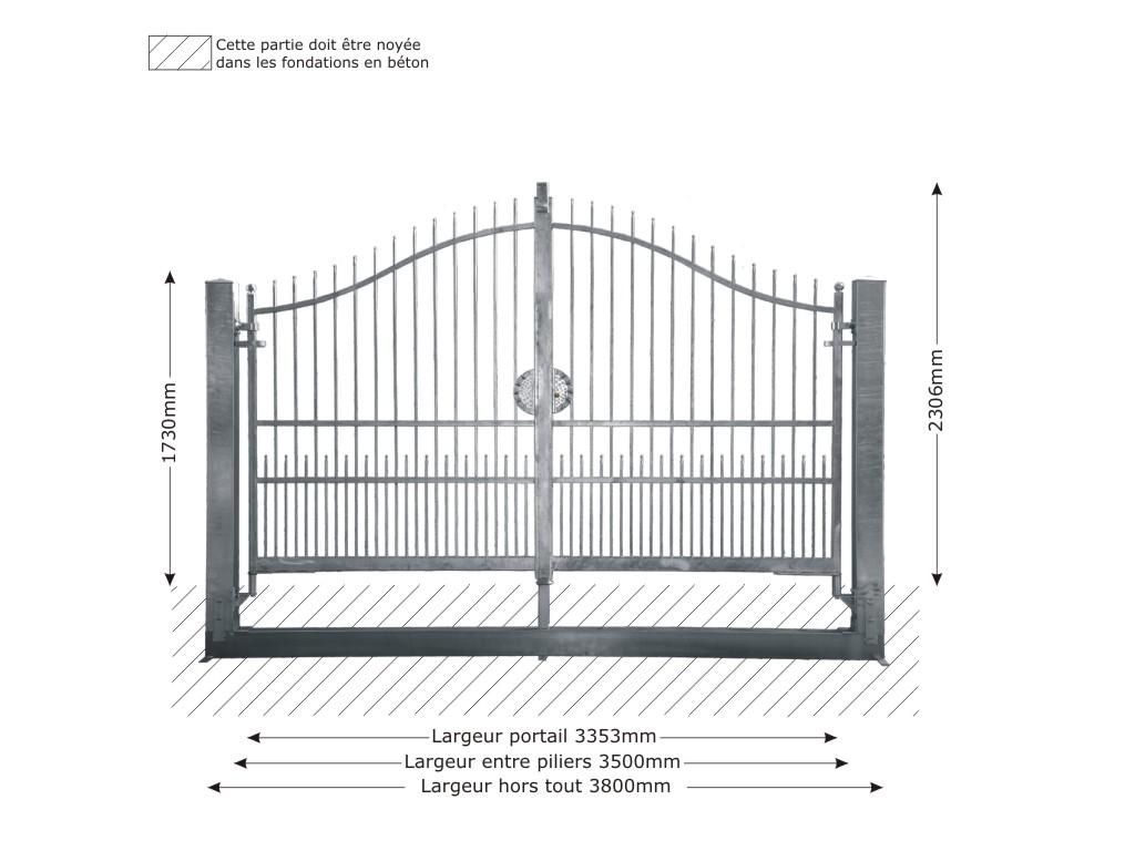 portail structure pour ouverture manuelle en fer forg massif atena 3. Black Bedroom Furniture Sets. Home Design Ideas