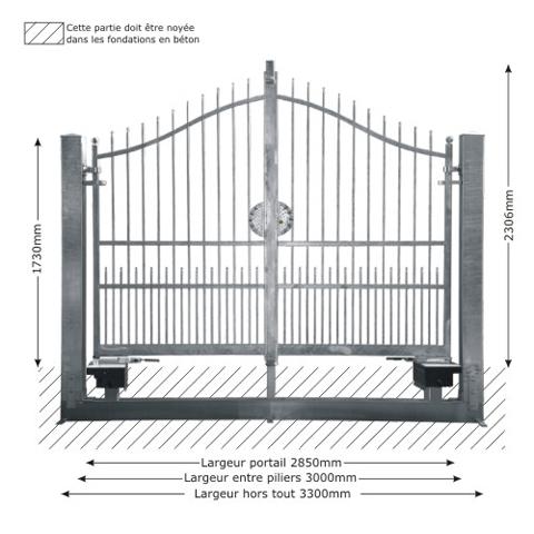 portail atena 3m 14x14 structure motorisable ft43521 ouvertu. Black Bedroom Furniture Sets. Home Design Ideas