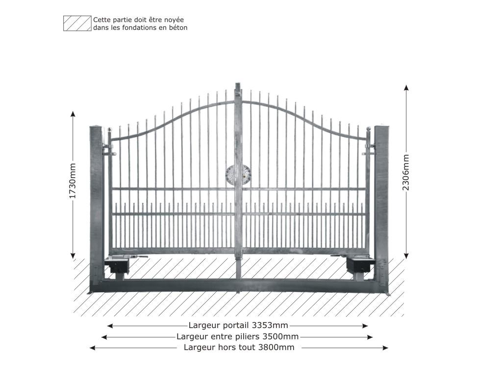 portail structure motorisable en fer forg massif atena 3 5m. Black Bedroom Furniture Sets. Home Design Ideas