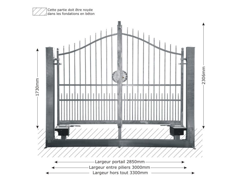Portail structure motorisable en fer forg massif atena 3m for Portail 3m
