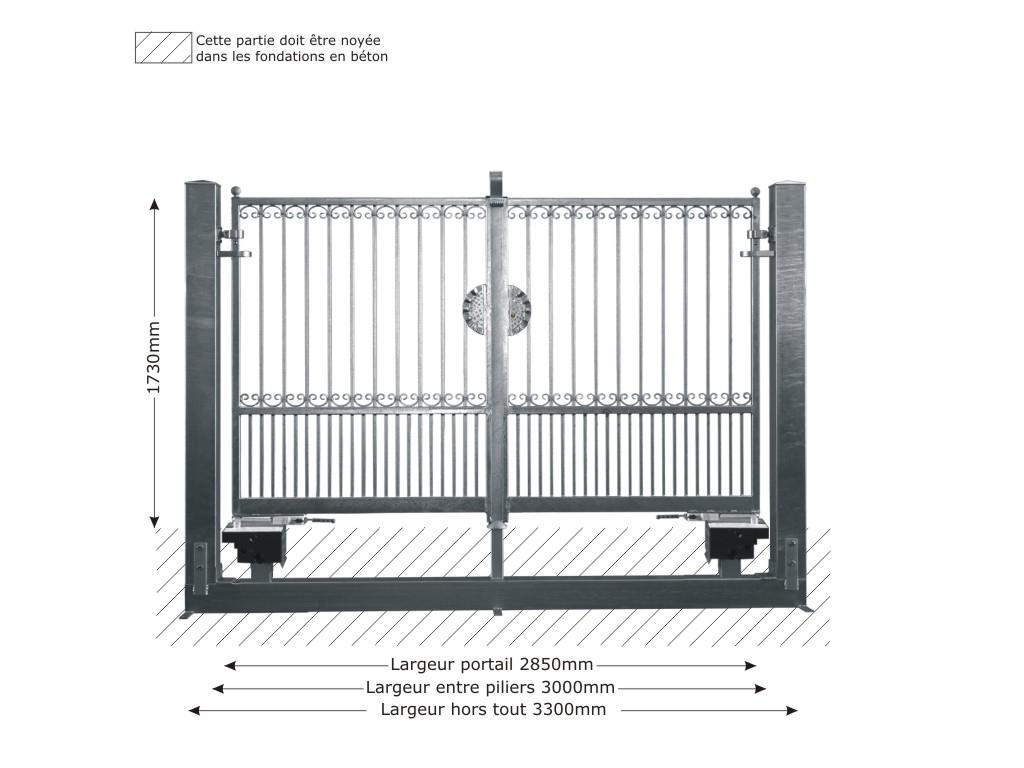 Portail gea ouverture m canisable portail gea 3m 14x14mm for Portail 3m