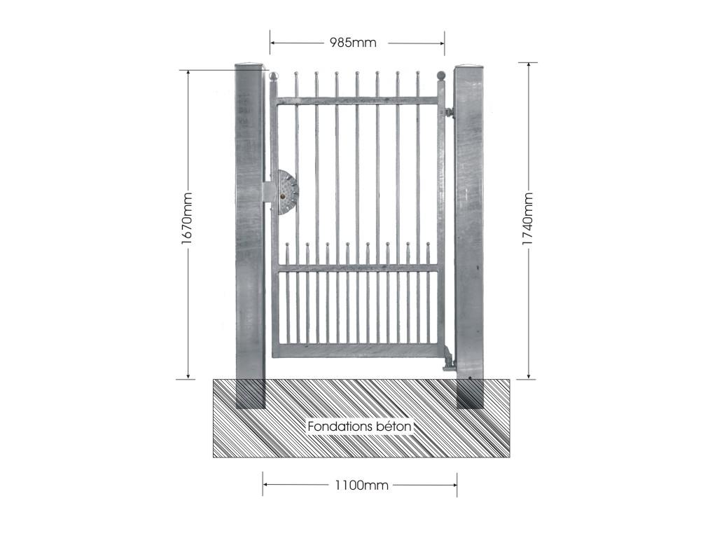 portillon demetra avec ou sans poteaux portillon demetra 1 1m 14mm av. Black Bedroom Furniture Sets. Home Design Ideas