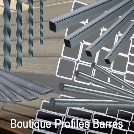Profilés acier en barres de 2 et 3m, mains courantes, fer plats, rond plein et tubes carrée et rectangulaires...