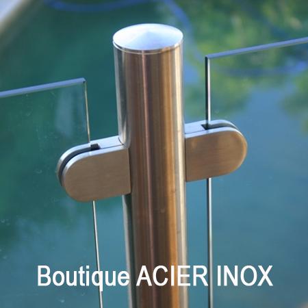 Boutique avec accessoires en inox pour garde corps inox et escaliers en inox