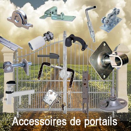 accessoires de portails, gonds, pivots, serrures, roulettes, rails...