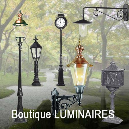 Luminaires extérieurs, réverbères, candélabres, boites à lettres, décoration extérieure